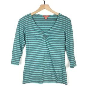 TOMMY BAHAMA Relax Top Stripe 3/4 Sleeve V Neck XS